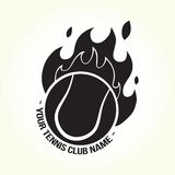 Burning tennis ball logo Royalty Free Stock Photography