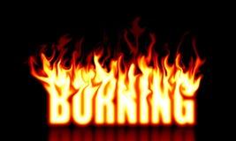 Burning Text Stock Image