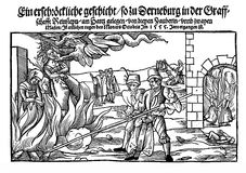 Burning of three witches, 1555 Stock Photography
