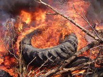 Burning tire. Tire in a burning trash pile Royalty Free Stock Photo