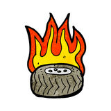 burning tire cartoon Royalty Free Stock Image