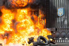 Burning tires. Kiev, Ukraine - 02 February 2015: Burn tires at the entrance of the General Staff of the Ministry of Defense of Ukraine during a protest rally in Royalty Free Stock Photography