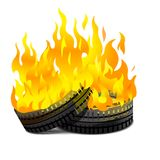 Burning tires. Two lying burning tires revolutionary barricade, eps10 Royalty Free Stock Photography
