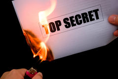 Burning a top secret paper Royalty Free Stock Image