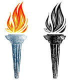 Burning torch. Doodle style. Vector Royalty Free Stock Photography