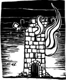 Burning Tower. A woodcut style castle tower keep burning down Royalty Free Stock Photography
