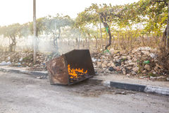 Burning trash bin after riots in Hebron, Palestine Royalty Free Stock Photos