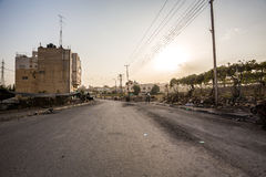 Burning trash bin after riots in Hebron, Palestine Royalty Free Stock Photo