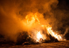Burning of trash and old trees. Royalty Free Stock Photos