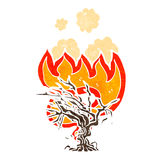Burning tree retro cartoon Stock Image