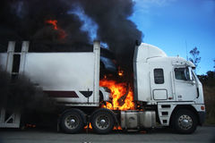 Burning Truck Stock Photography