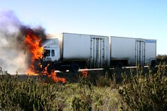 Burning Truck royalty free stock images