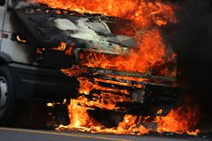 Burning Truck. Truck burning making large flames Royalty Free Stock Images