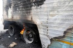 Burning Truck Wheels Accident royalty free stock photos