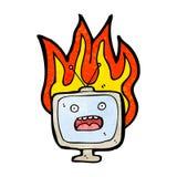 Burning tv set cartoon. Retro cartoon with texture. Isolated on White Stock Image