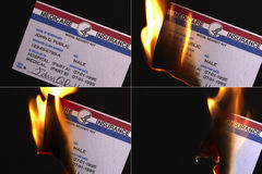 Burning U.S. Medicare Insurance Card Stock Photo