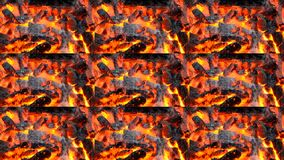 Burning up the black and red embers fire flame close up. Multicam split screen group montage background. Abstract animation wall stock video footage