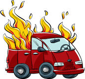 Burning Van Stock Photos