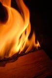 burning vedträ arkivfoto
