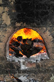 burning vedträpanna Royaltyfri Bild