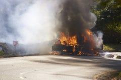 Burning Vehicle Stock Photo