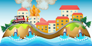 A burning village rescued by a fireman. Illustration of a burning village rescued by a fireman Stock Photography