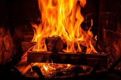 Burning Vintage Fireplace Stock Photography