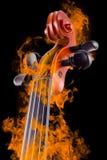 Burning violin Royalty Free Stock Image