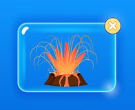 Burning Volcano with Splashing Red Lava Graphic. Design on blue background. Hot liquid flows down edges of earth`s formation in glass screen with yellow cross Stock Images