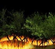 Burning Waldbrand der Illustration 3D, Bushfire, Nahaufnahme des verheerenden Feuers lizenzfreies stockfoto