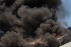 Burning warehouses Stock Photo