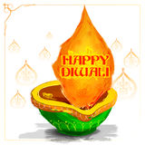Burning watercolor diya on happy Diwali Holiday background for light festival of India Royalty Free Stock Image