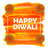 Burning watercolor diya on happy Diwali Holiday background for light festival of India Stock Image