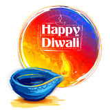 Burning watercolor diya on happy Diwali Holiday background for light festival of India Royalty Free Stock Photos