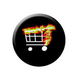 Burning web shop button Stock Photography