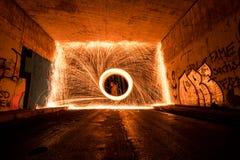 Burning Weinheim Steelwool Stockfoto