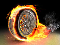 Burning wheel Stock Image