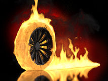 Burning wheel Royalty Free Stock Photography