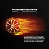 Burning Wheel Illustration. Realistic burning wheel tyre extreme auto sport speed poster vector illustration Royalty Free Stock Images