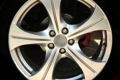 Burning wheels. Sport car wheel Stock Photo