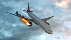 Burning white aircraft in the sky before crashing down. 3D illustration royalty free illustration