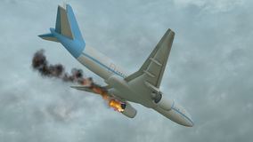 Burning white aircraft in the sky before crashing down. 3D illustration stock illustration