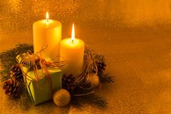 Burning white Christmas candles stock photo