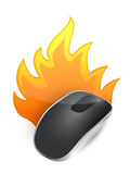 Burning Wireless computer mouse Stock Photos