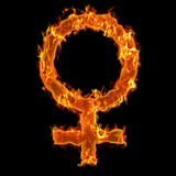 Burning woman Symbol. Realistis burning woman symbol at flames at black background Stock Image