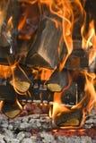 Burning wood. Camp fire closeup Stock Photo