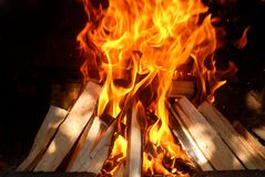 Burning wood. And big flames Royalty Free Stock Photos