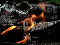 Burning Wood Royalty Free Stock Photo
