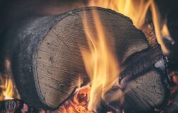 Burning Wood Stock Photo