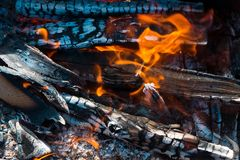 Burning of wood Stock Images